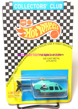 Hot Wheels Leo Mattel India, Teal Jurassic Park Propper Chopper, unpunched card (MS3india-860)