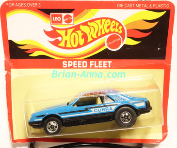 Hot Wheels Leo Mattel India, Turbo Mustang, Medium Blue, Black/White tampo, unpunched card (MS3india-005)