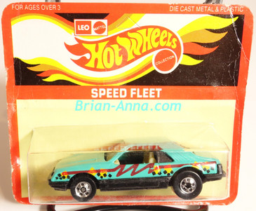 Hot Wheels Leo Mattel India, Turbo Mustang, Aqua w/crazy graphics tampo, unpunched card (MS3india-006)