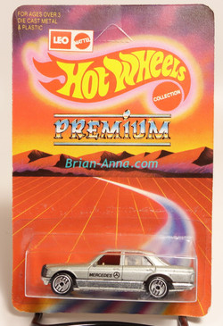 Hot Wheels Leo Mattel India, Mercedes 380 in Silver w/UH wheels, unpunched card (MS3india-116)