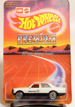 Hot Wheels Leo Mattel India, Mercedes 380 in White w/UH wheels, unpunched card (MS3india-117)