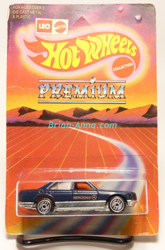 Hot Wheels Leo Mattel India, Mercedes 380 in Dark Blue & Orange tampo w/UH wheels, unpunched card (MS3india-114)