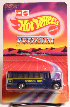Hot Wheels Leo Mattel India, School Bus in Dark Blue with BW wheels, unpunched card (MS3india-118)