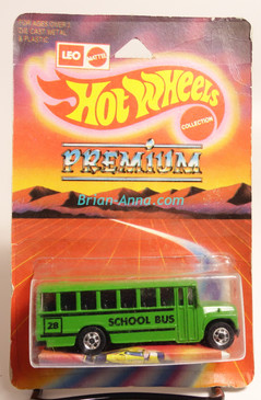 Hot Wheels Leo Mattel India, School Bus in Green with BW wheels (MS3india-119)