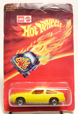 Hot Wheels Leo Mattel India, Pontiac J-2000 in Yellow w/BW wheels, unpunched card (MS3india-128)