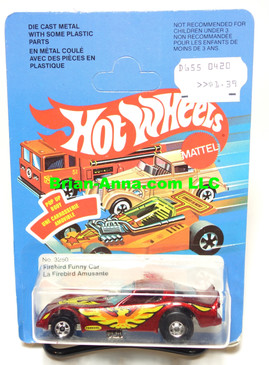 Hot Wheels Metal Flake Red Firebird Funny Car, unpunched French Canadian card (ms3-573)