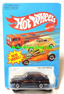 Hot Wheels Black Ford Escort XR3, basic wheels on old card (ms3-578)
