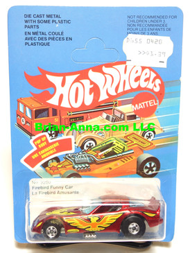Hot Wheels Metal Flake Red Firebird Funny Car, unpunched French Canadian card (ms3-579)