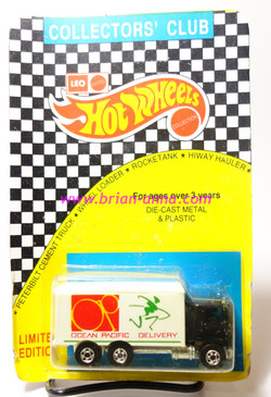 Hot Wheels Leo Mattel India, Hiway Hauler Black Cab with Green Man, Ocean Pacific tampo, unpunched card (MS3india-706)
