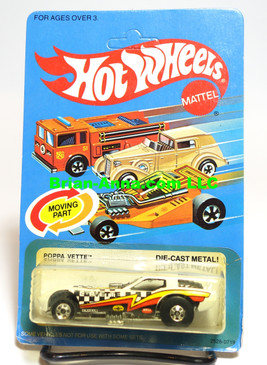 Hot Wheels Poppa Vette, BW wheels, unpunched card, Malaysia base (ms3-592)