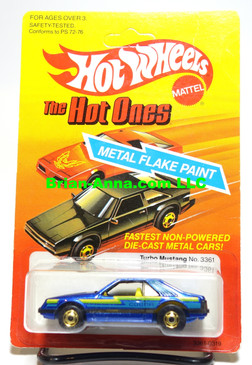 Hot Wheels Blue Turbo Mustang, Yellow Interior, HOGD whls, Mint on card (593)