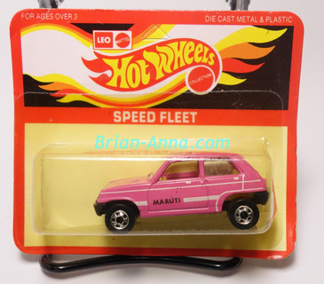 Hot Wheels Leo Mattel India, Bright Pink Maruti on unpunched card (MS3india-650)