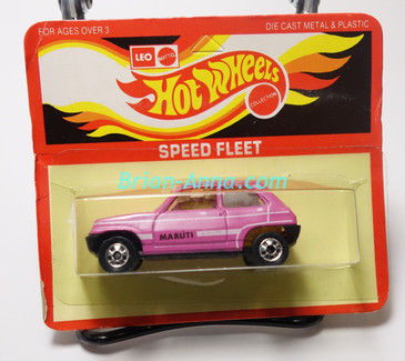 Hot Wheels Leo Mattel India, Bright Pink Maruti on unpunched card (MS3india-651)