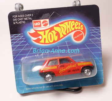 Hot Wheels Leo Mattel India, Bright Red Maruti on unpunched card (MS3india-660)
