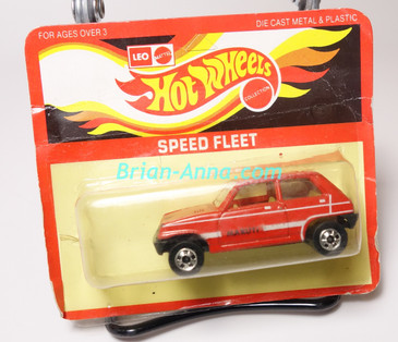 Hot Wheels Leo Mattel India, Bright Red Maruti on unpunched card (MS3india-661)