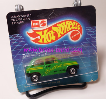 Hot Wheels Leo Mattel India, Medium Green Maruti on unpunched card (MS3india-665)