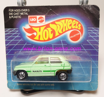 Hot Wheels Leo Mattel India, Seafoam Green Maruti on unpunched card (MS3india-667)