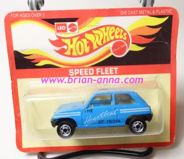 Hot Wheels Leo Mattel India, Light Blue Maruti on unpunched card (MS3india-669)