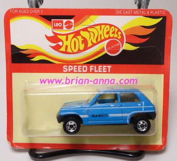 Hot Wheels Leo Mattel India, Light Blue Maruti on unpunched card (MS3india-670)
