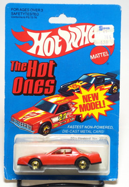 Hot Wheels 80's Firebird in Red/Tan interior, hogd wheels, Hong Kong, Mint on card (604)