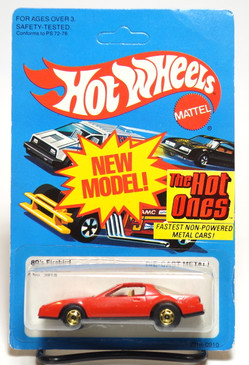 Hot Wheels 80's Firebird in Red/Tan interior, hogd wheels, Hong Kong, Mint on card (607)