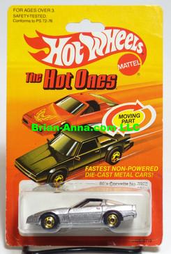 Hot Wheels 80's Corvette, metalflake silver, hogd wheels, Hong Kong base