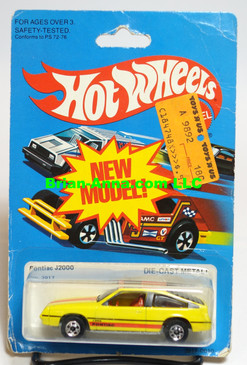 Hot Wheels Yellow Pontiac J-2000, 8mm sunroof, Hong Kong, BW wheels (ms3-613)