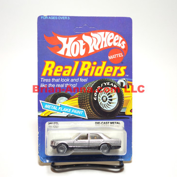 Hot Wheels Real Riders metalflake silver, Mercedes 380 SEL, Gray Hubs, Hong Kong base