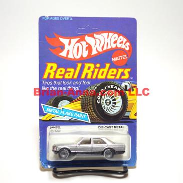 Hot Wheels Real Riders metalflake silver, Mercedes 380 SEL, Gray Hubs, Hong Kong base