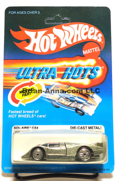 Hot Wheels Ultra Hots Card, Sol-Aire CX4, silver finish, Ultrahot Wheels, Malaysia base