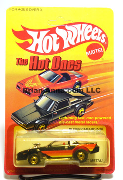 Hot Wheels The Hot Ones Card, Blown Camaro, Black w/hogd wheels, Malaysia base