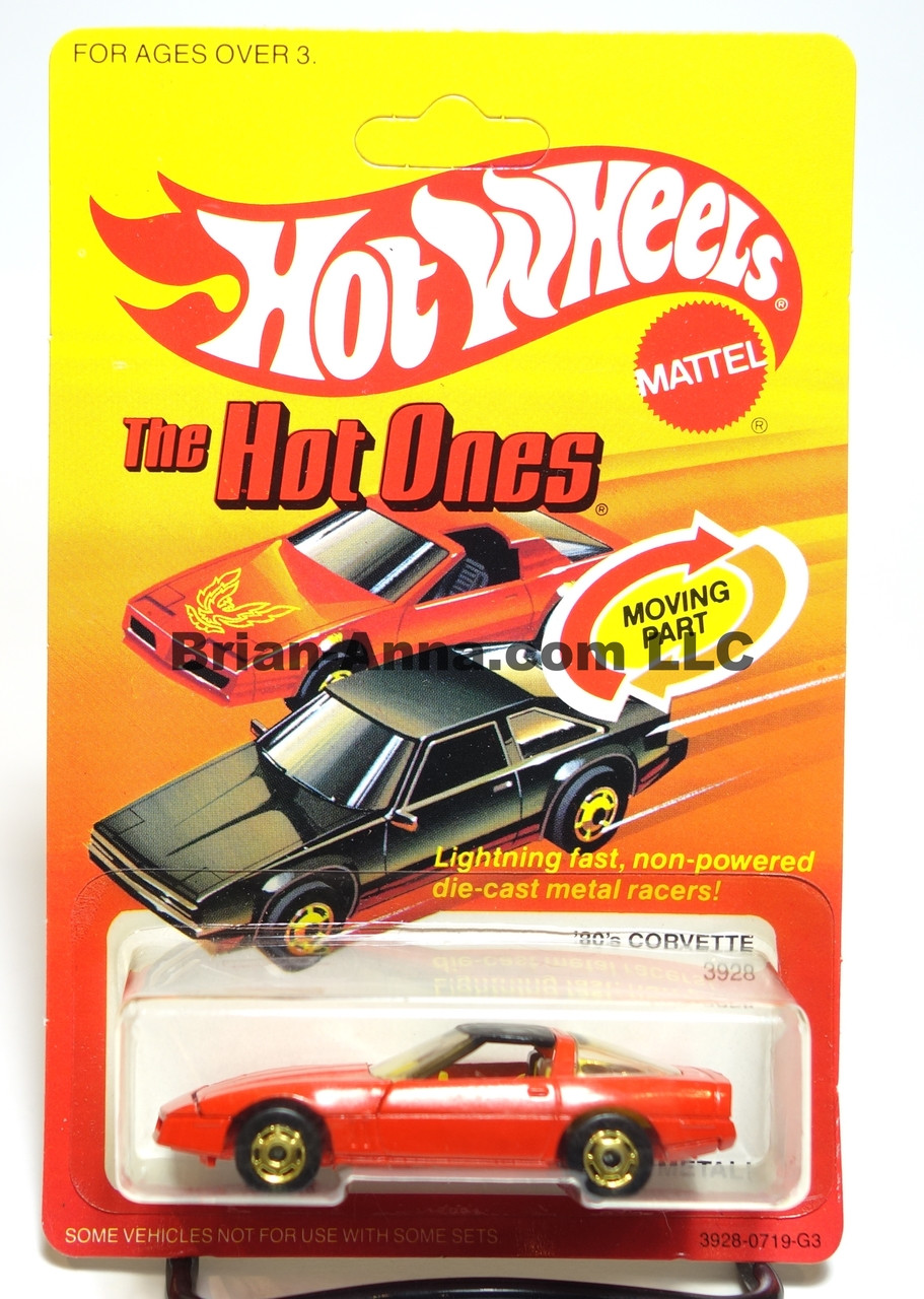 Hot Wheels The Hot Ones Package, 80's Corvette, Red w/hogd wheels, Hong Kong base