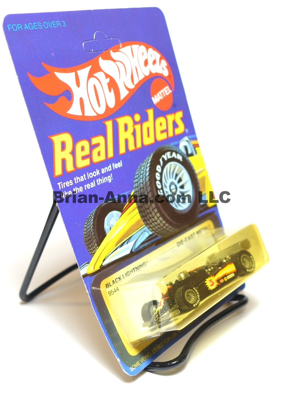 Hot Wheels Real Rider Black Lightning formula racer, Gray Hubs, Malaysia base