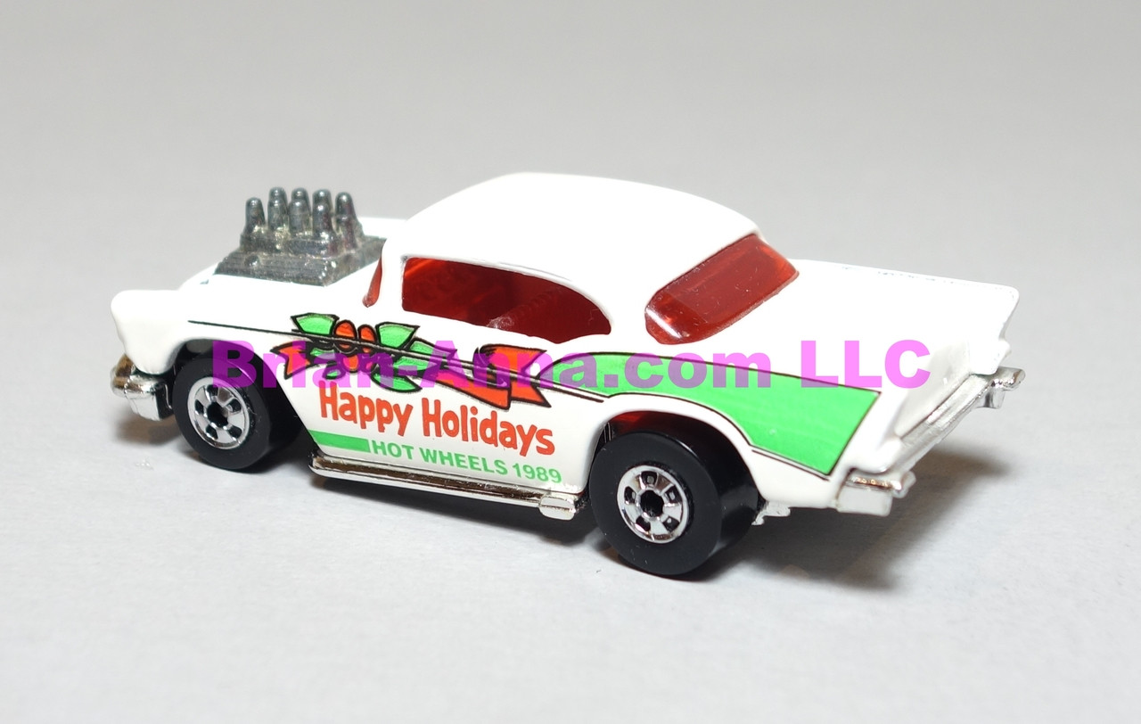 Hot Wheels Mattel Employee 1989 Happy Holidays '57 Chevy in Bright White, loose