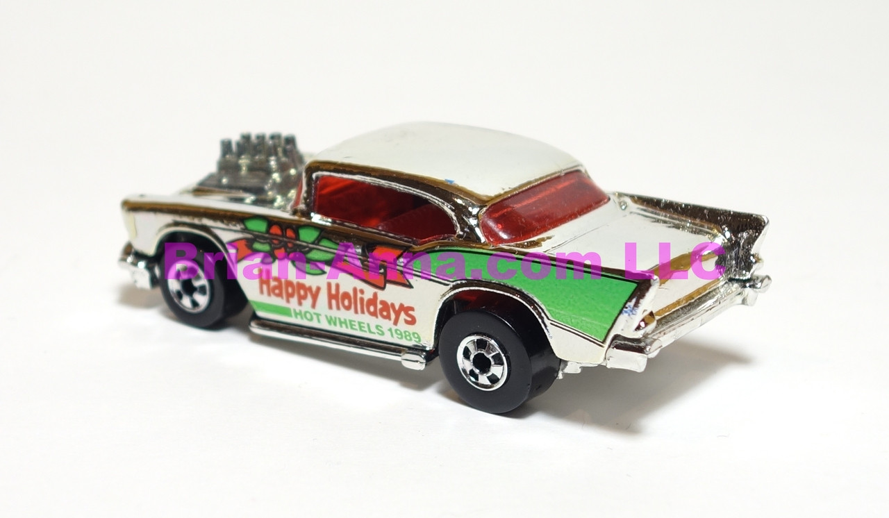 Hot Wheels Mattel Employee 1989 Happy Holidays '57 Chevy in Bright Chrome, loose