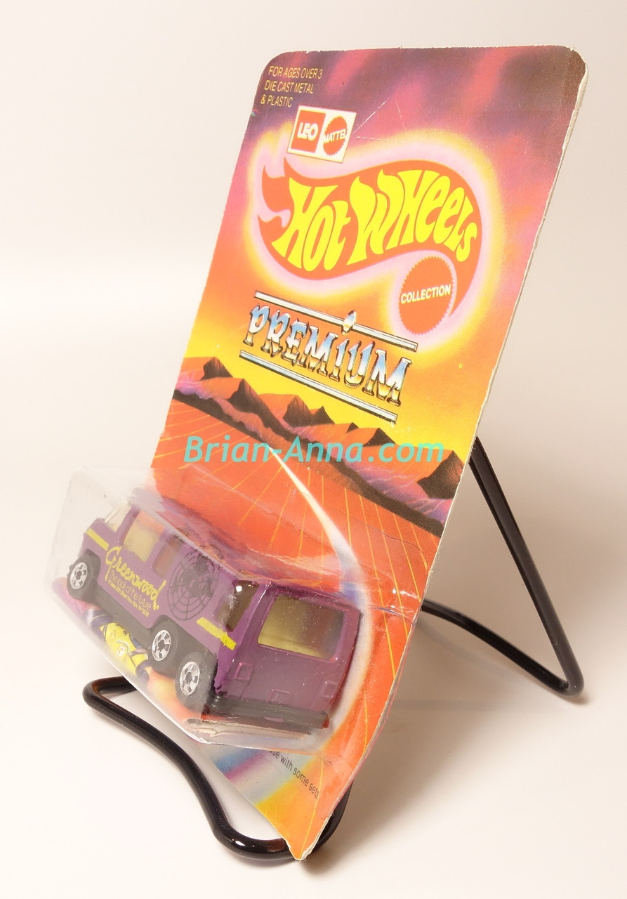 Hot Wheels Leo Mattel India, Purple GMC Motorhome, Yellow Greenwood tampo on unpunched card