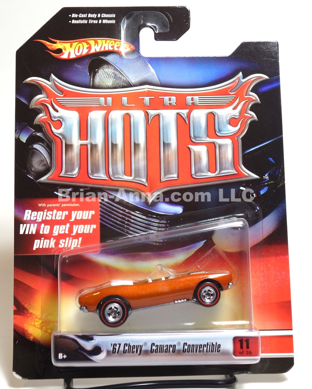 Hot Wheels Ultra Hot Series '67 Camaro Convertible in Burnt Orange, Red line Rubber Tires