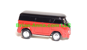 Johnny Lightning 60's VW Bus in Black over Red, LOOSE