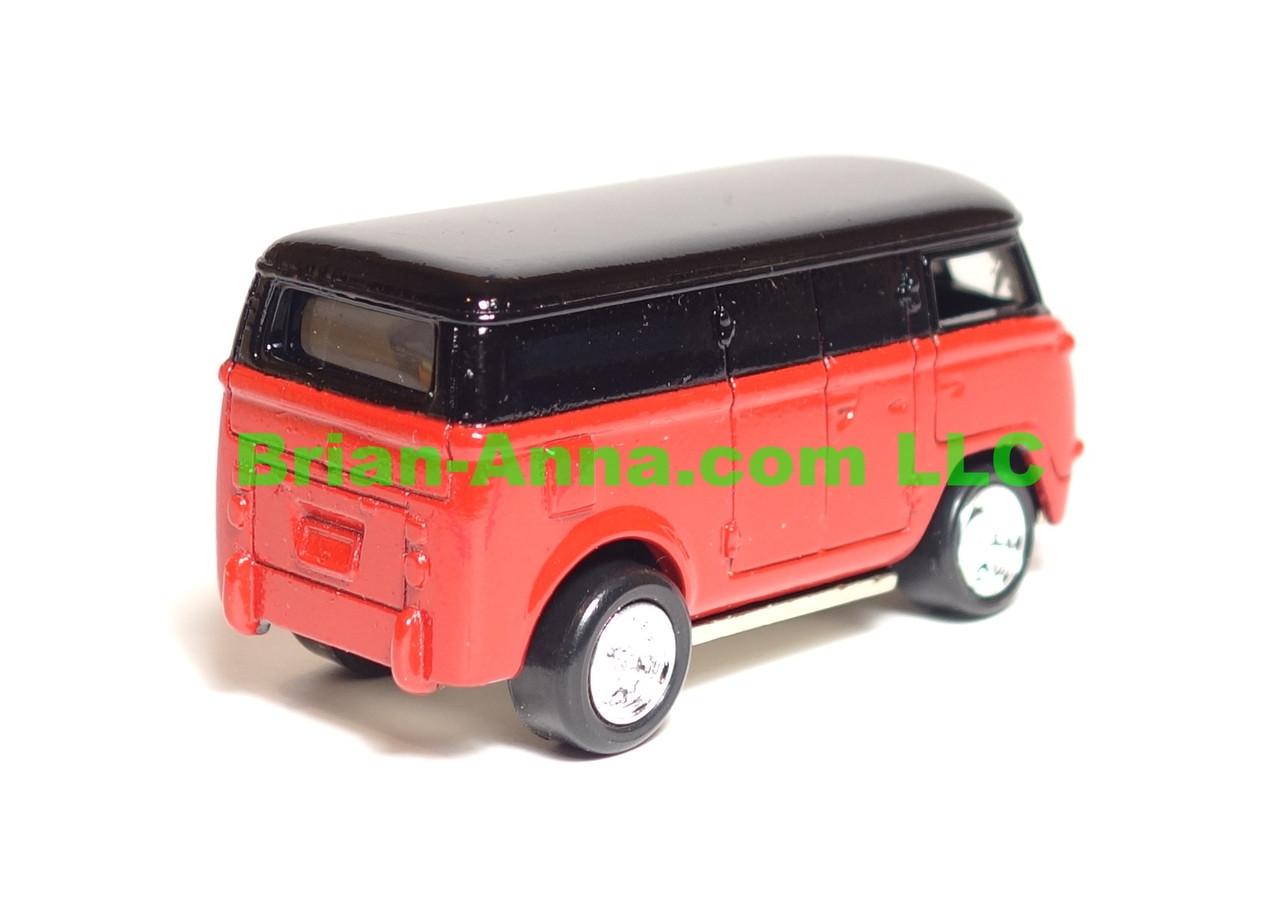 Johnny Lightning 60's VW Bus in Black over Red, LOOSE