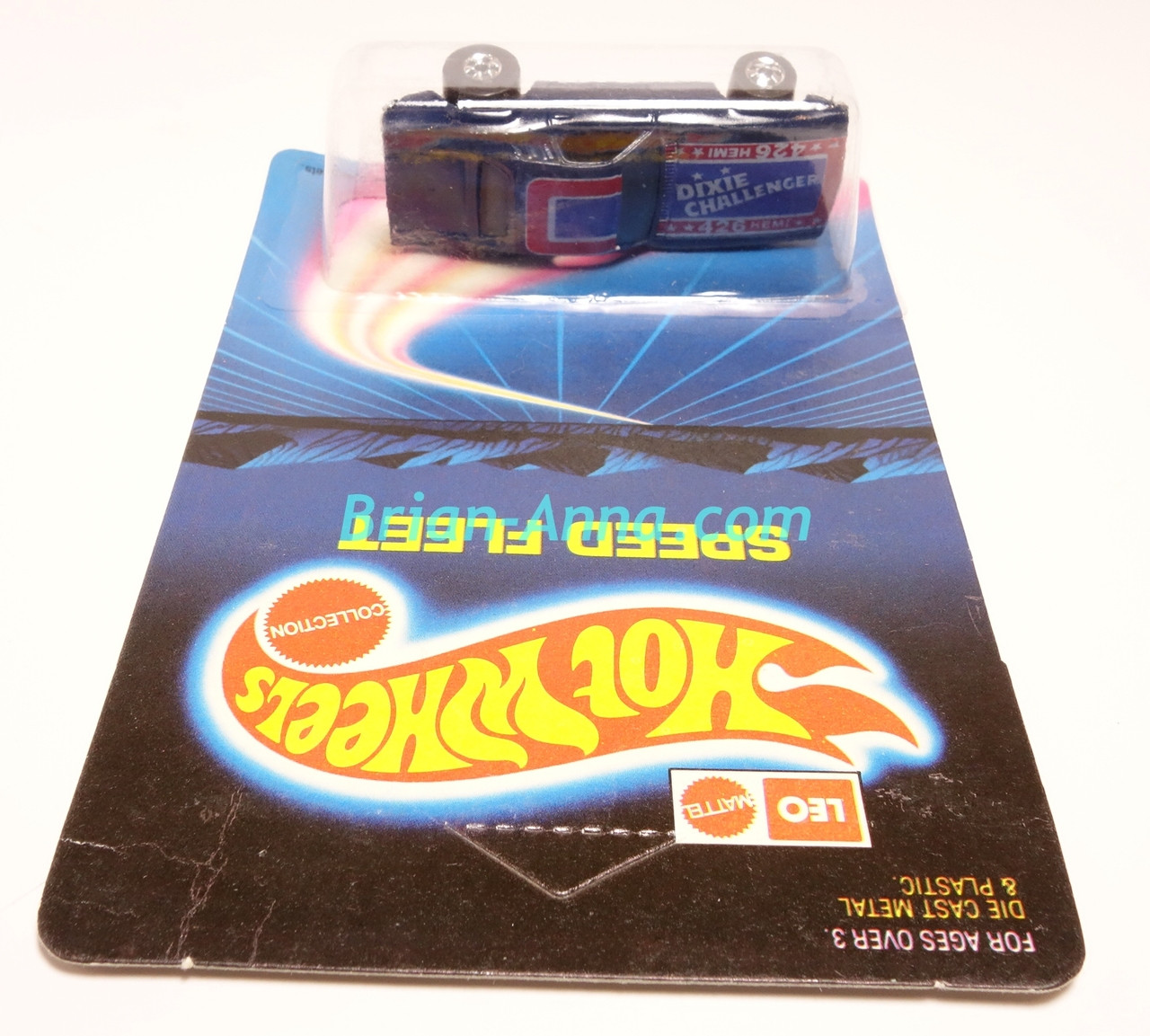 Hot Wheels Leo Mattel India, Dark Blue Dixie Challenger on unpunched card