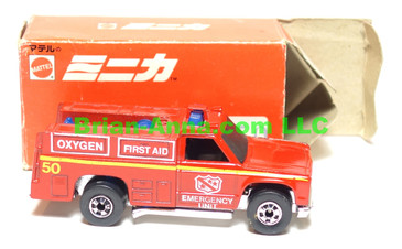Hot Wheels Mattel Japan Box, Emergency Squad in Red enamel with blackwalls