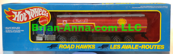 Hot Wheels Road Hawks Shell Tanker Truck with rare RED tanker 1/43 Scale Trucks