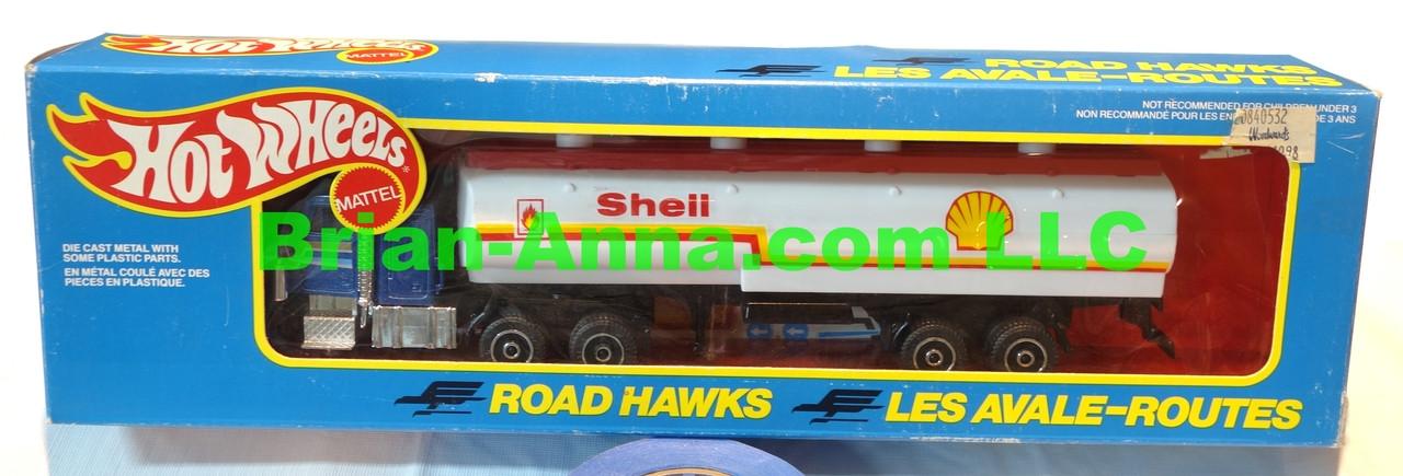 Hot Wheels Road Hawks Shell Tanker Truck with White tanker 1/43 Scale Trucks