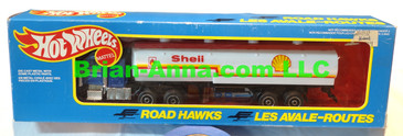 Hot Wheels Road Hawks Shell Tanker Truck with White tanker 1/43 Scale Trucks