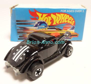 Hot Wheels Leo Mattel India, Black Neet Streeter, White Stars & Stripes tampo, with box