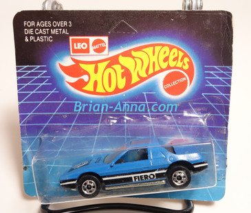 Hot Wheels Leo Mattel India, Blue Pontiac Fiero, unpunched card