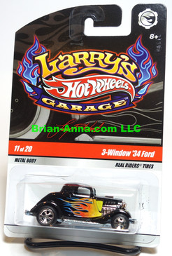 Hot Wheels Larry's Garage Series, Black with Flames 3-window '34 Ford