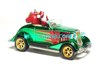 Hot Wheels 1997 Holiday Rods, '34 Ford Convertible in Green Chrome, loos