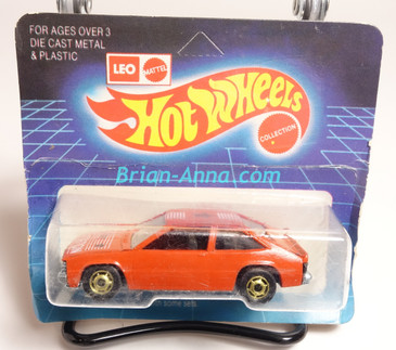 Hot Wheels Leo Mattel India, Chevy Citation in Orange w/hogd wheels unpunched card