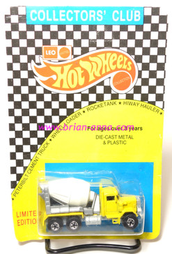 Hot Wheels Leo Mattel India, Peterbilt Cement Truck, Yellow Cab, unpunched card